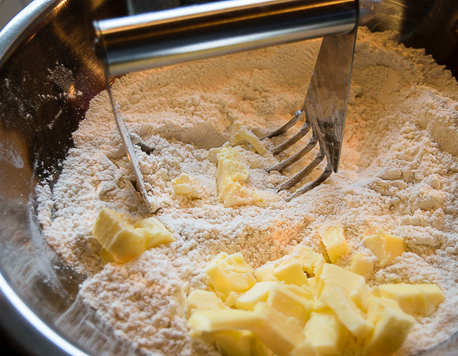 Mix dry ingredients together and cut in butter.